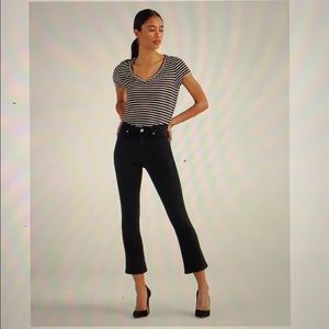 7 For All Mankind Black High-Waist Slim Kick Jeans